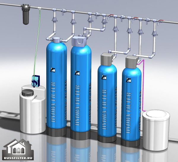 Водоподготовка для коттеджа #2. 2300 л/час (5-6 одновременно открытых крана) Растворенное железо до 10 мг/л